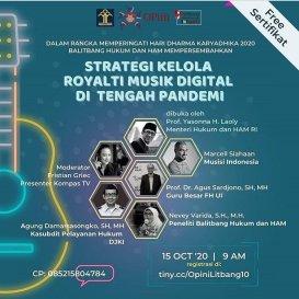 "Webinar Kemenkumham  ""Strategi Kelola Royalti Musik Digital di Tengah Pandemi"""