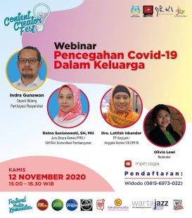"Content Creatort Festival 2020 ""Webinar Pencegahan Covid-19 Dalam Keluarga"""