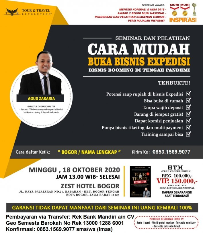 085315699077 Seminar Buka Usaha Ekspedisi di Bogor