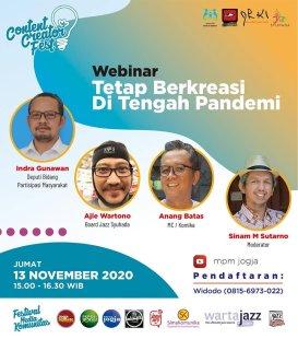 "Content Creatort Festival 2020 ""Webinar Tetap Berkreasi Di Tengah Pandemi"""
